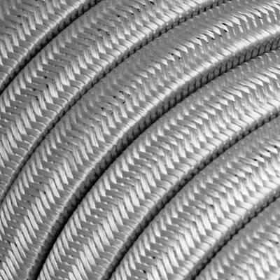 Câble électrique pour Guirlande recouvert en tissu Effet soie Argenté CM02