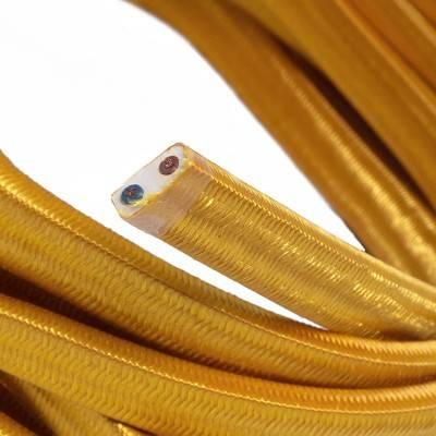 Câble électrique pour Guirlande recouvert en tissu Effet soie Doré CM05