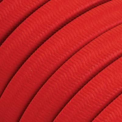 Met textiel omweven 220 V prikkabel, rood viscose CM09