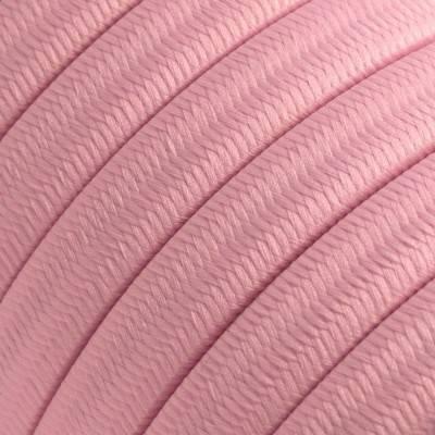 Met textiel omweven 220 V prikkabel, babyroze viscose CM16