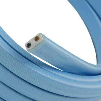 Met textiel omweven 220 V prikkabel, babyblauw viscose CM17