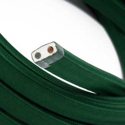 Câble électrique pour Guirlande recouvert en tissu Effet soie Vert sombre CM21