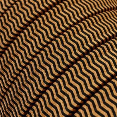Met textiel omweven 220 V prikkabel, whiskey-zwart CZ22