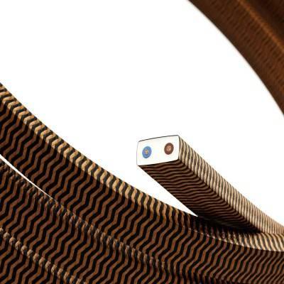 Câble électrique pour Guirlande recouvert en tissu Effet soie ZigZag Noir - Whiskey CZ22