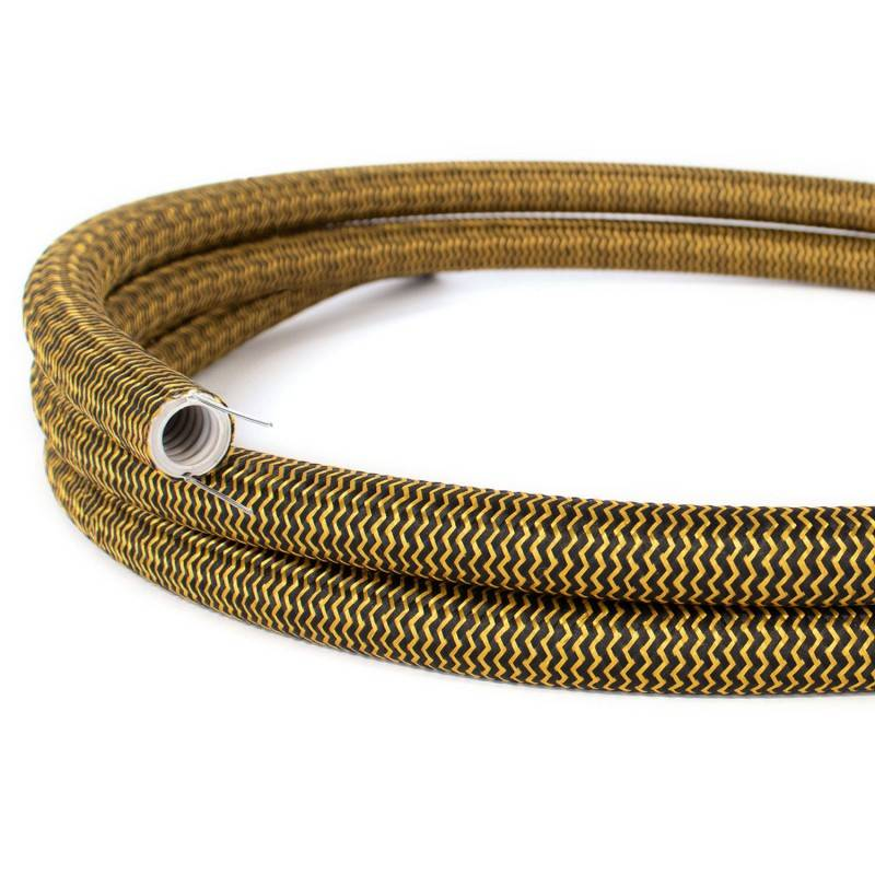 Design flexibele elektrabuis met stof omweven - Creative-Tube zigzag goud en zwart viscose RZ24 20 mm.
