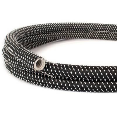 Design flexibele elektrabuis met stof omweven - Creative-Tube zwart-wit 3D effect viscose RT41 20 mm.