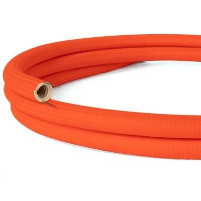 Creative-Tube, diamètre 20 mm, recouvert de tissu RF15 effet soie Orange Fluo de câble malléable