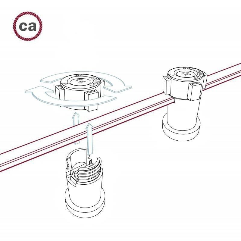 Kit douille avec double bague pour abat-jour E27 et Système Guirlandes Lumet en thérmoplastique noir