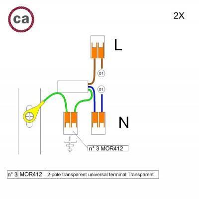 Kit de connexion WAGO compatible avec câble 2x pour Rosace à 1 trou