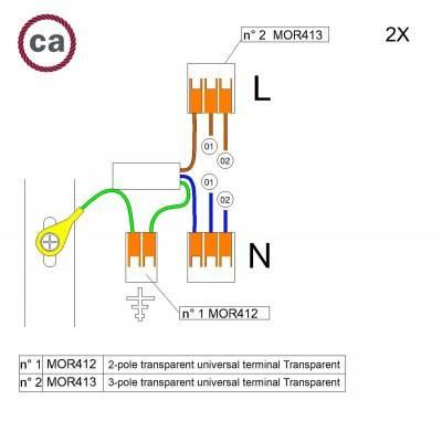WAGO verbindingskit compatibel met 2x kabel voor 2-gaats Aansluitkap