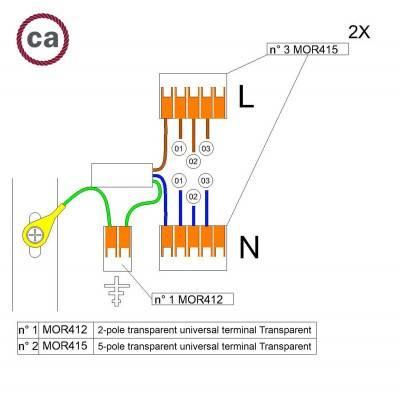 Kit de connexion WAGO compatible avec câble 2x pour Rosace à 3 trous