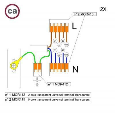 Kit de connexion WAGO compatible avec câble 2x pour Rosace à 4 trous