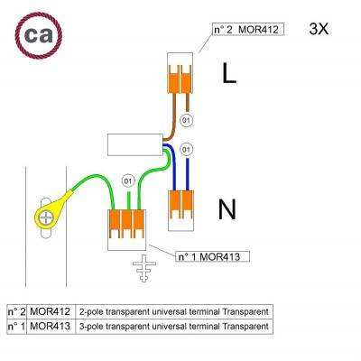 WAGO verbindingskit compatibel met 3x kabel voor 1-gaats Aansluitkap