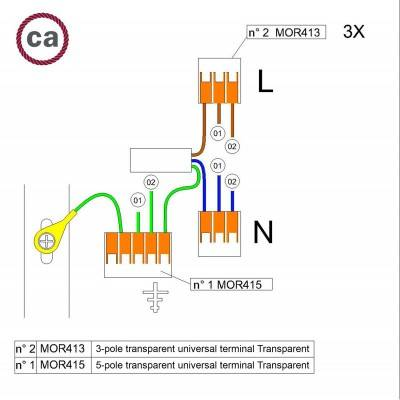 WAGO verbindingskit compatibel met 3x kabel voor 2-gaats Aansluitkap