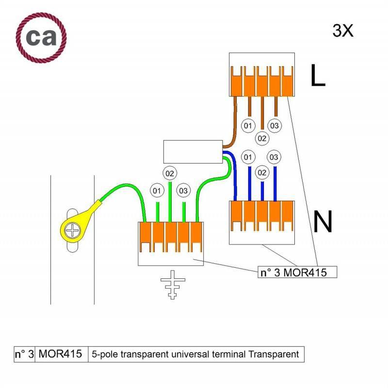 Kit de connexion WAGO compatible avec câble 3x pour Rosace à 3 trous