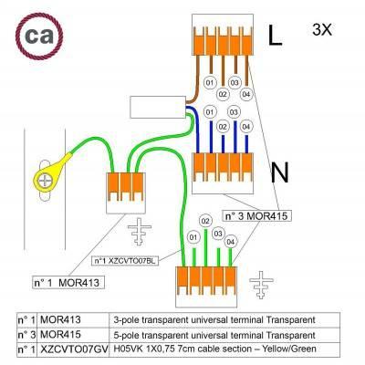 Kit de connexion WAGO compatible avec câble 3x pour Rosace à 4 trous