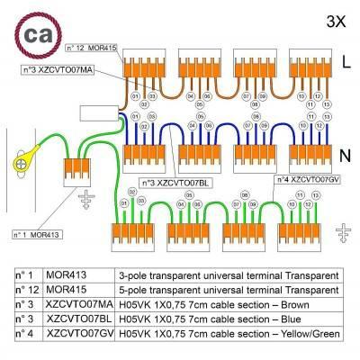 WAGO verbindingskit compatibel met 3x kabel voor 13-gaats Aansluitkap