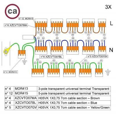 WAGO verbindingskit compatibel met 3x kabel voor 14-gaats Aansluitkap