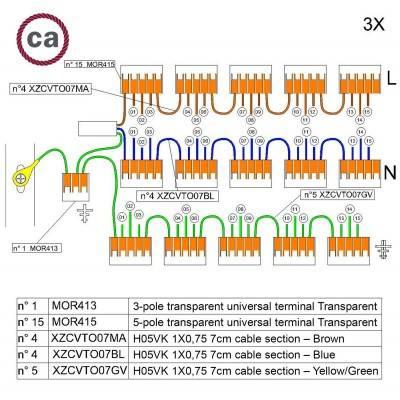 WAGO verbindingskit compatibel met 3x kabel voor 15-gaats Aansluitkap