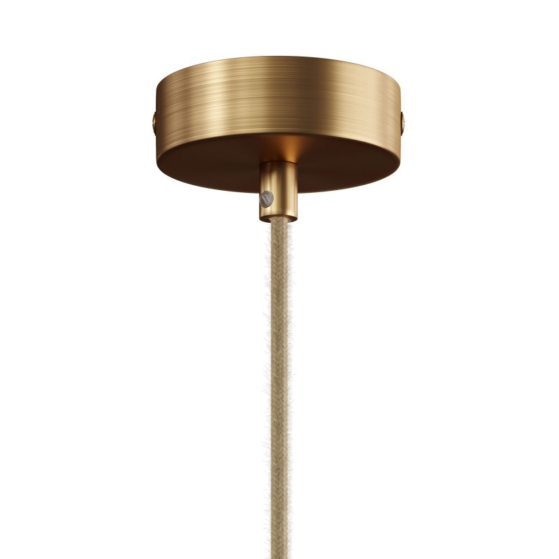 Lampe à suspension Made in Italy avec câble textile et double abat-jour Tub-E14 en bois et métal