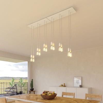 6 lichts-hanglamp voorzien van XXL rechthoekige Rose-One 675 mm compleet met strijkijzersnoer en metalen afwerking