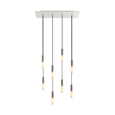 8 lichts-hanglamp voorzien van XXL rechthoekige Rose-One 675 mm compleet met strijkijzersnoer en metalen afwerking