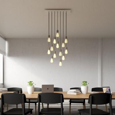 14 lichts-hanglamp voorzien van XXL rechthoekige Rose-One 675 mm compleet met strijkijzersnoer en metalen afwerking