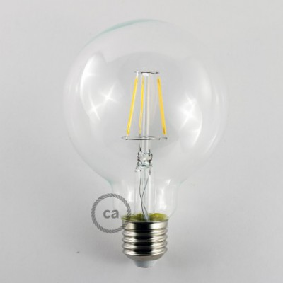 Vintage niet dimbare decoratieve 4W LED lamp met kooldraad effect Globe G95 helder warm licht