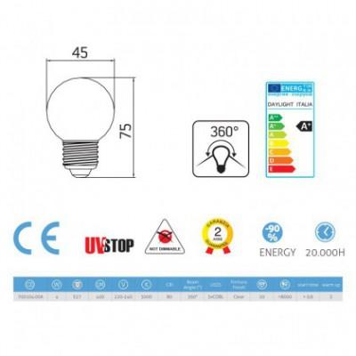 Light bulb filament Led Sphere 3.5W E27 Clear