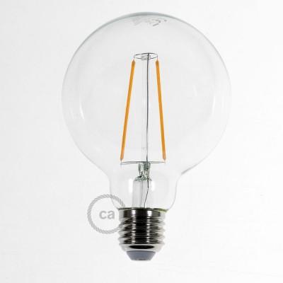 LED lichtbron transparant - Globe G95 lange kooldraad 4W decoratief vintage 2200K