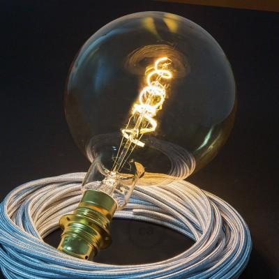 Ampoule Dorée XXL LED - Sphère G200 Filament courbe avec Double Spirale 5W E27 Dimmable 2000K