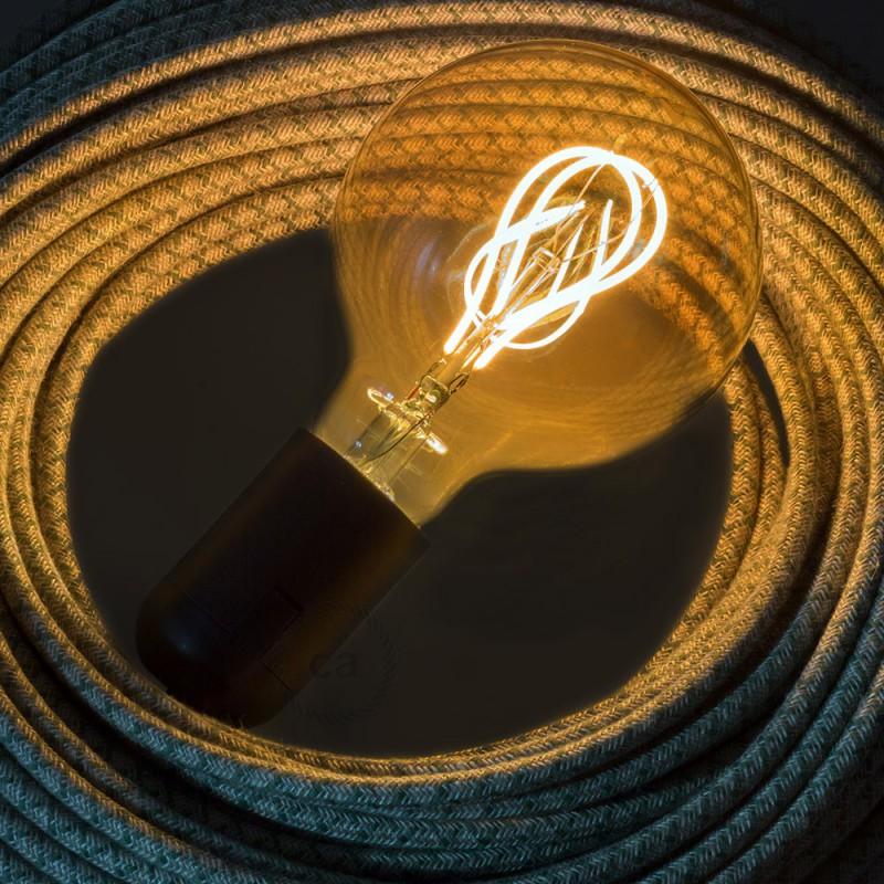 Ampoule Dorée LED - Globe G95 Filament courbe avec Double Boucle 5W E27 Dimmable 2000K