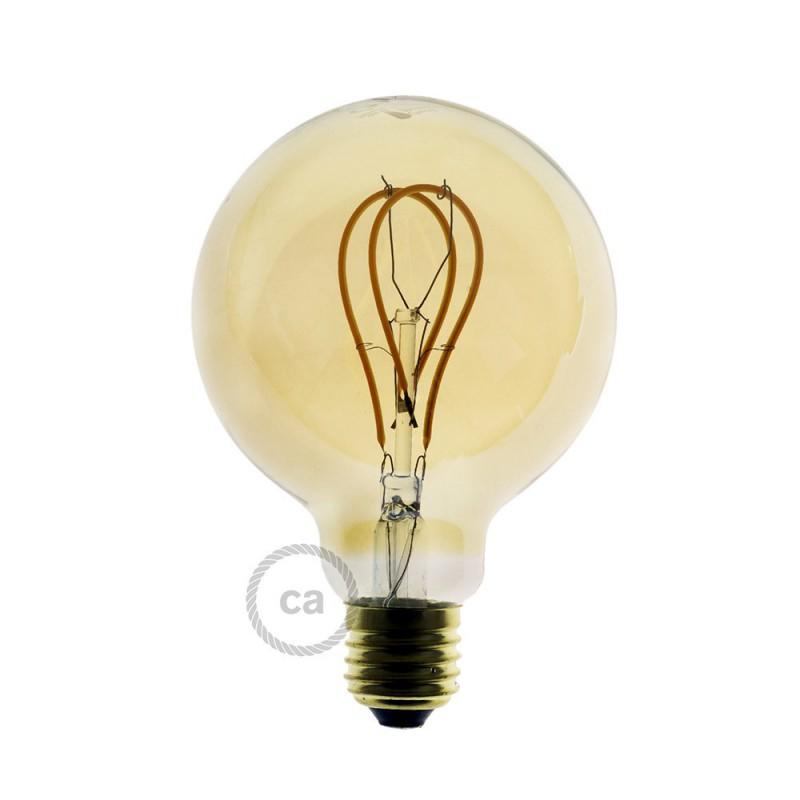 LED goudkleurige lichtbron - Globe G95 gebogen dubbele lus kooldraad - 5W E27 dimbaar 2000K