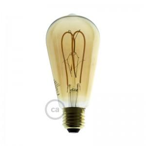 LED goudkleurige lichtbron - Edison ST64 gebogen dubbele lus kooldraad - 5W E27 dimbaar 2000K