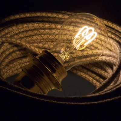 Ampoule Transparente LED - Goutte A60 Filament courbe avec Spirale 3W E27 Dimmable 2000K