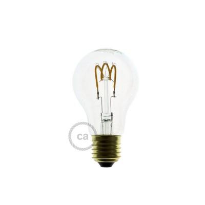 LED lichtbron transparant - Druppel A60 gebogen spiraal kooldraad - 3W E27 dimbaar 2200K