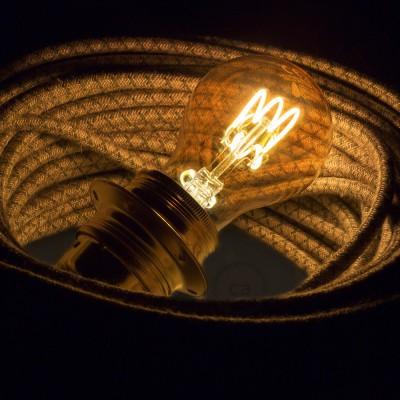 LED goudkleurige lichtbron - Druppel A60 gebogen spiraal kooldraad - 3W E27 dimbaar 2000K