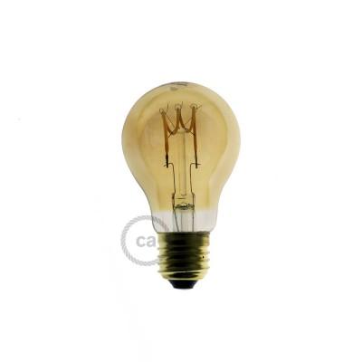 Ampoule Dorée LED - Goutte A60 Filament courbe avec Spirale 3W E27 Dimmable 2000K