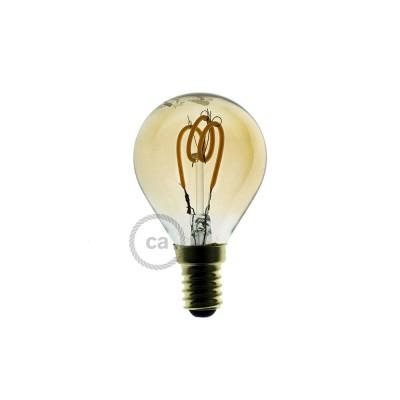 Ampoule Dorée LED - Sphère G45 Filament courbe avec Spirale 3W E14 Dimmable 2000K