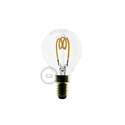 Ampoule Transparente LED - Sphère G45 Filament courbe avec Spirale 3W E14 Dimmable 2200K