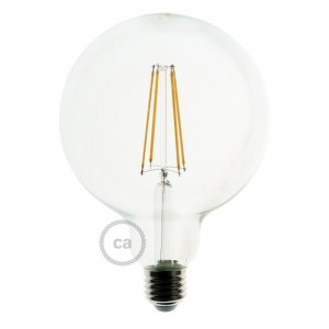 LED lichtbron transparant - De Globe G125 met lange kooldraad - 7.5W E27 decoratief vintage dimbaar 2200K