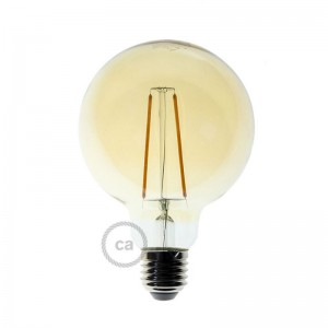 LED goudkleurige lichtbron - Globe G95 met lange kooldraad - 4W E27 decoratief vintage 2000K
