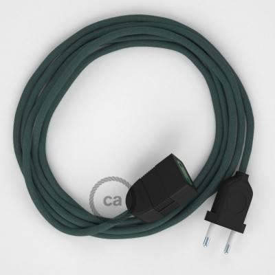 Verlengkabel 2P 10A met rond flexibel strijkijzersnoer RC30 van steengrijs katoen