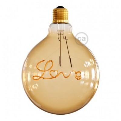 """Ampoule Dorée Globe LED pour suspension - G125 Filament simple """"Love"""" - 5W E27 Décorative Vintage 2000K"""