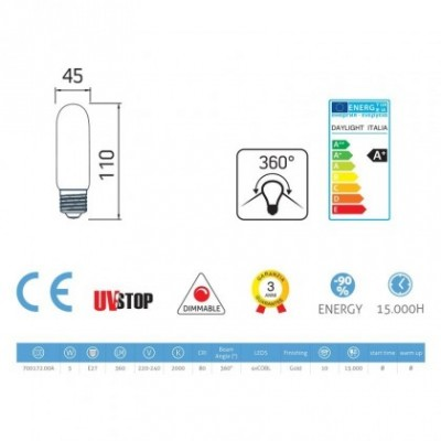 Mini buis goudkleurige LED T45 - 5W E27 dimbaar 2000K