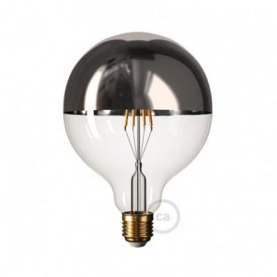 Zilver kopspiegel Globe G125 LED lichtbron 7,5W E27 2700K dimbaar