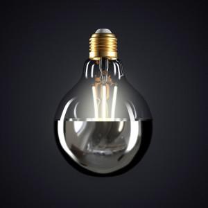 Ampoule LED Globe G95 Demi Sphère Argentée 7W E27 Dimmable 2700K