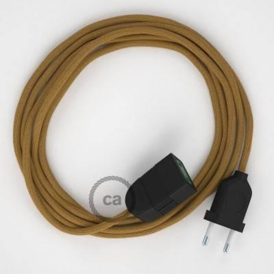 Rallonge électrique avec câble textile RC31 Coton Miel Doré 2P 10A Made in Italy.