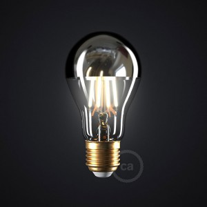 Zilver kopspiegel druppel A60 LED lichtbron 7,5W E27 2700K dimbaar