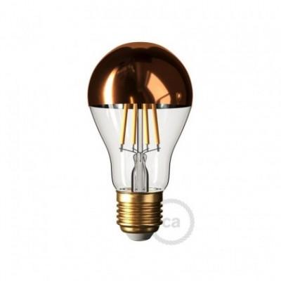 Koper kopspiegel druppel A60 LED lichtbron 7,5W E27 2700K dimbaar